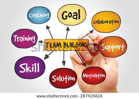 Team Building mind map, business concept - stock photo