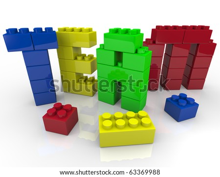 Team building - putting letters together with toy blocks - stock photo