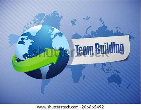 team building sign illustration design world map background