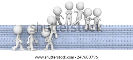 Team Building. The dude 3D character x9 on climbing up on a wall.  - stock photo