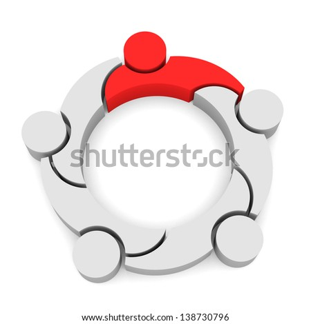 Team Business 5 Logo Leadership,  3D isolated in white background - stock photo