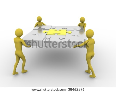 Team carrying puzzle. High resolution 3D render isolated on white - stock photo