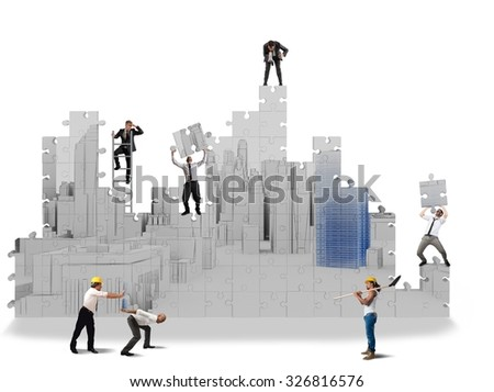 Team collaborate to build projects in 3d - stock photo