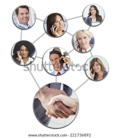 Team communication montage of interracial successful business people, men and women using mobile cell phones to social network - stock photo