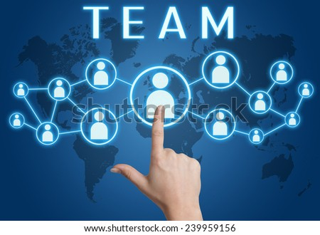 Team concept with hand pressing social icons on blue world map background. - stock photo