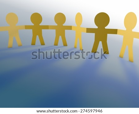 Team concept with symbolic people holding hands, friendship and unity idea.