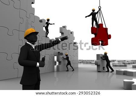 Team constructing jigsaw puzzle. A team constructing a giant jigsaw puzzle while directed by a leader. - stock photo