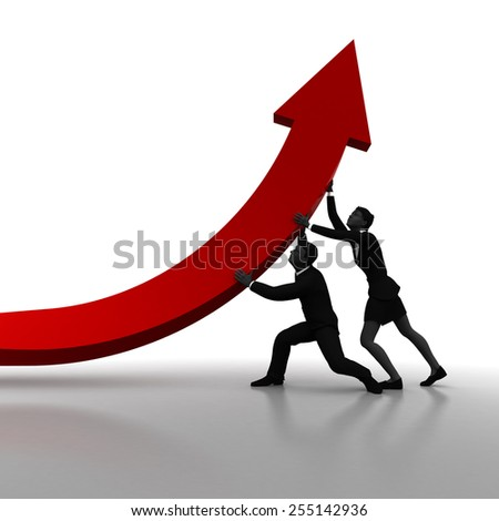 Team correcting business direction arrow. A team of two executives correct the direction of a business arrow. - stock photo