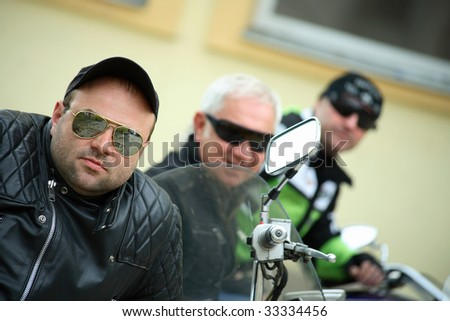 Team Friends of motorcyclists - stock photo