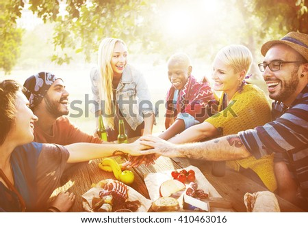 Team Friendship Leisure Vacation Togetherness Fun Concept - stock photo
