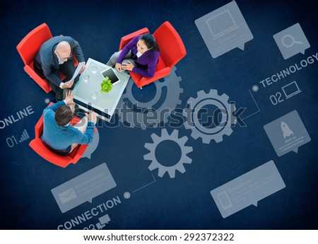 Team Functionality Industy Teamwork Connection Technology Concept - stock photo
