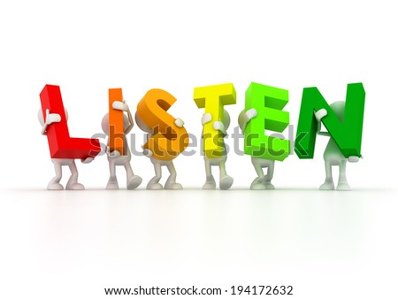 Team holding LISTEN word - stock photo