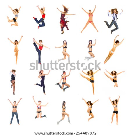 Team Jumping Girls Active  - stock photo