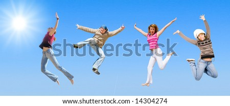 """team jumping -  of  """"Groups of people"""" series in my portfolio - stock photo"""
