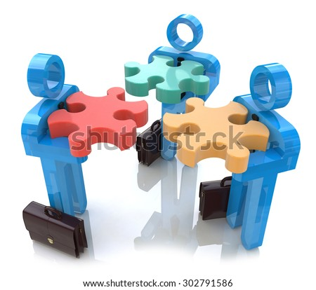 Team making a puzzle. Solutions concept  - stock photo