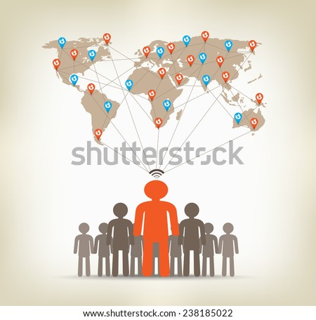 Team man global communication concept stock - stock photo