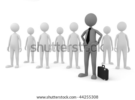 Team management. 3D concept depicting leader of a team, successful in economy, business or management area - stock photo