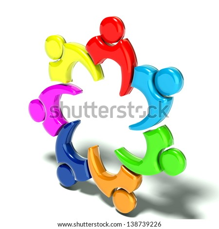 Team Meeting 7,  3D isolated glossy color, white background