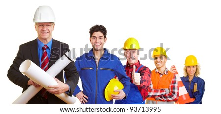 Team of an architect and construction workers working together - stock photo