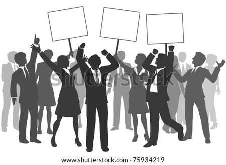 Team of business men and women holding three signs to celebrate company success - stock photo