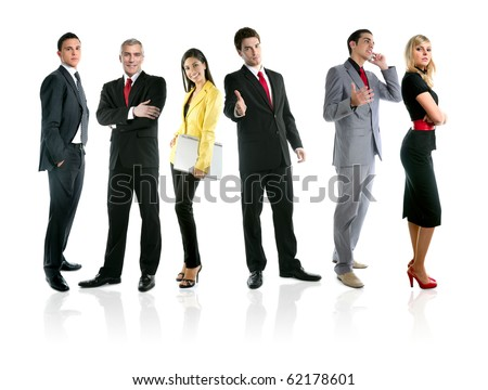 Team of business people group crowd full length stand isolated on white background [Photo Illustration]