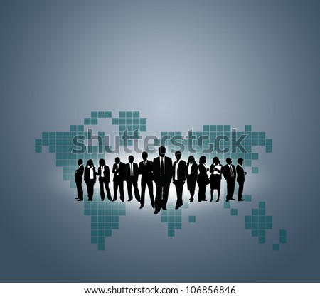 Team of business people with the World map background. - stock photo