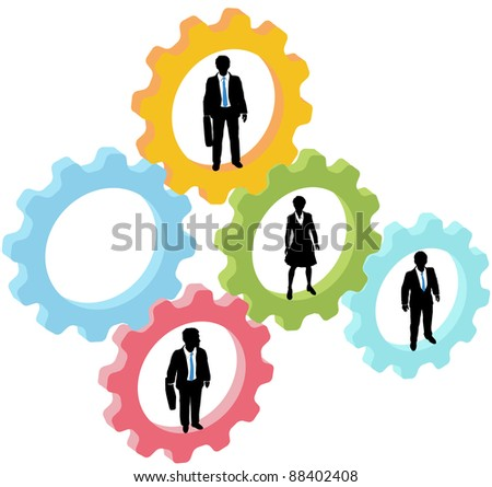 Team of business people work inside technology gears, with one gear open as copy space - stock photo