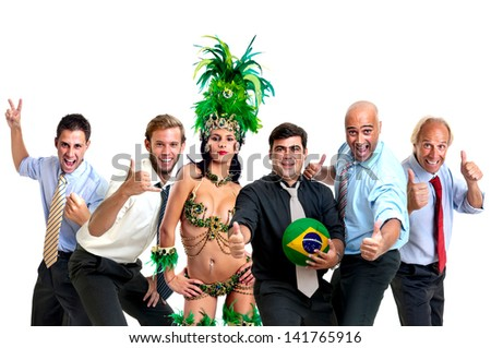 Team of businessmen and brazilian carnaval dancer with soccer ball - stock photo