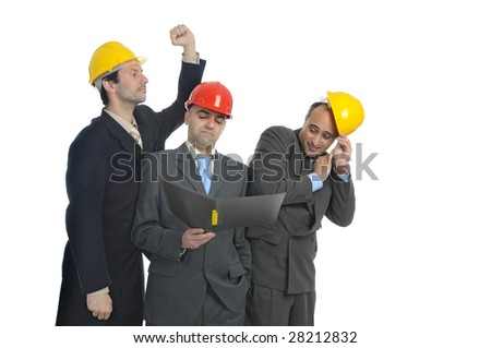 Team of engineers isolated in white