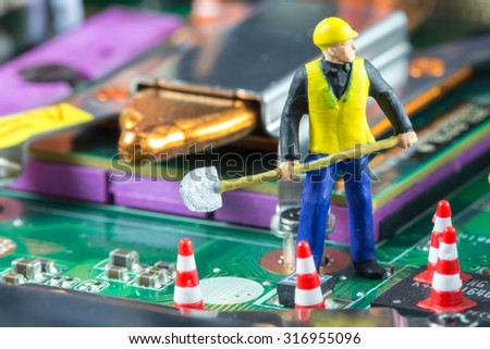 Team of engineers repairing circuit mother board. Computer repair concept - stock photo