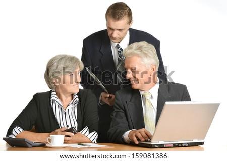 team of enterprising businessmen at work - stock photo
