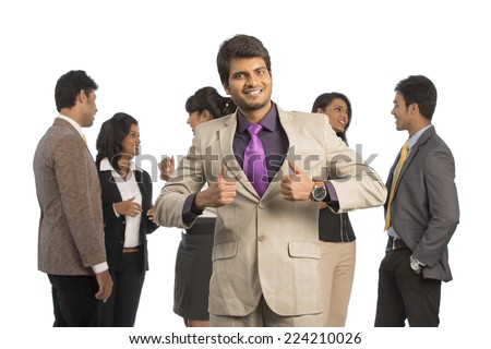 Team of happy Indian business people on a white background.  - stock photo