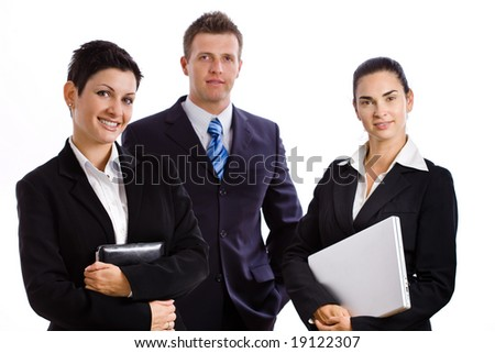 Team of happy successful business people smiling, isolated on white. - stock photo