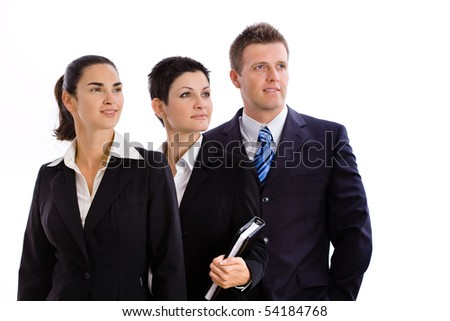 Team of happy successful business people smiling, Isolated on white background. - stock photo