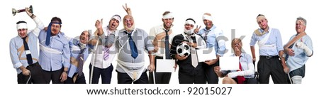 Team of injured and happy businessmen after a soccer game - stock photo