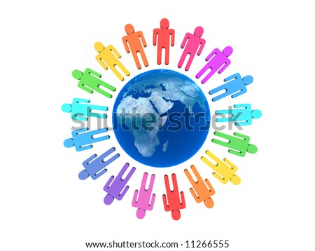 Team of people arround Earth isolated