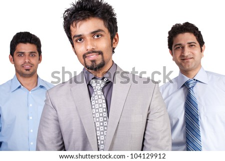 team of successful multiracial businessmen isolated on white, team leader with his colleagues isolated on white background - stock photo