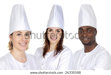 Team of three chefs on a over white background