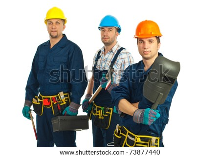 Team of three serious workers men isolated on white background - stock photo