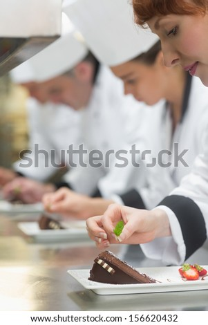 Team of young chefs in a row garnishing dessert plates in commercial kitchen