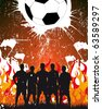 team on the fire background - rasterized football poster - stock photo