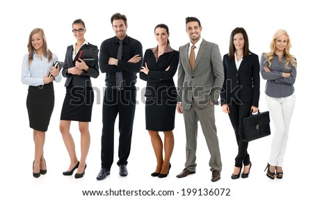 Team photo of successful young businesspeople over white background, all smiling happy. - stock photo