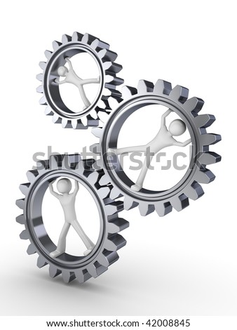 Team power (three men posing inside gears) - stock photo