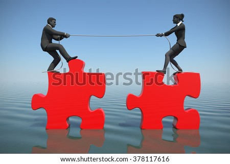 Team pulling jigsaw puzzle into position at sea. Two executives pull jigsaw puzzle pieces into position demonstrating teamwork at sea. - stock photo