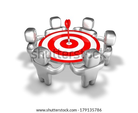 team reaching the aim abstract idea with team and darts - stock photo