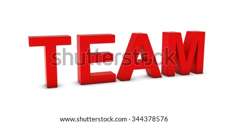 TEAM Red 3D Text Isolated on White with Shadows