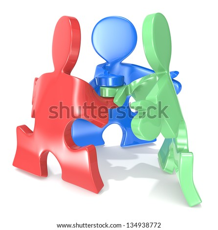 Team Spirit. Puzzle People x3 in a team pose. Red green and blue. - stock photo