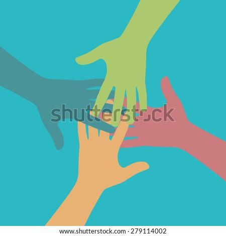 Team symbol. Multicolored hands - stock photo