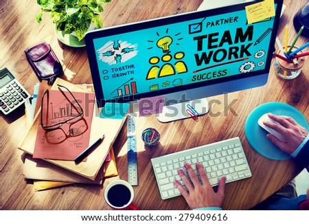 Team Teamwork Group Collaboration Organization Concept - stock photo