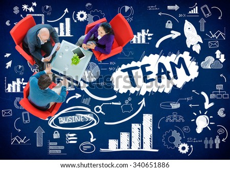 Team Teamwork Industry Company Connection Technology Concept - stock photo